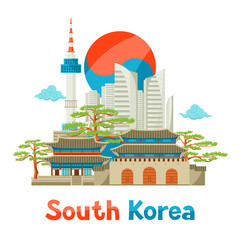South Korea historical and modern architecture background design
