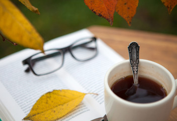A cup of tea on an old wooden table with a book and woolen blanket in the garden. Autumn.