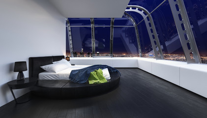 Bed in luxury bedroom with wide window