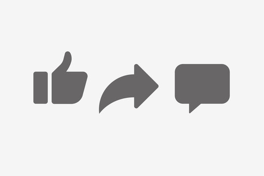Abstract vector like comment share icon set.