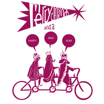 THE CYCLISTS THREE WISE MEN. MERRY CHRISTMAS AND A HAPPY NEW YEAR. Postcard christmas dessing illustration.