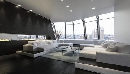 Luxus Penthouse lounge Raum mit Aussicht auf Stadt