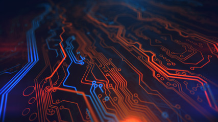 Orange Yellow and Blue Digital Hardware Technology. Computer background. PCB. Printed circuit board. Computer motherboard. 3d illustration.