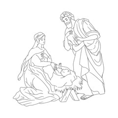 Vector coloring book. Christmas scene. Nativity. Holy family, Joseph, Mary and newborn Jesus drawing in kids style.