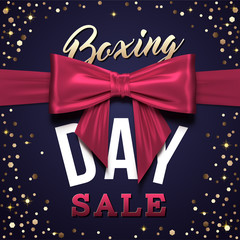 Boxing Day Sale design with realistic bow. greeting card with 3d red bow for promotional, poster, flyer, blog, etc. EPS 10 vector illustration.