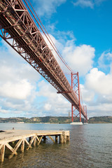 Close-up view of Bridge of 25th april in Lisbon.