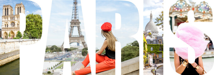 Paris letters filled with pictures of famous places in Paris city, France
