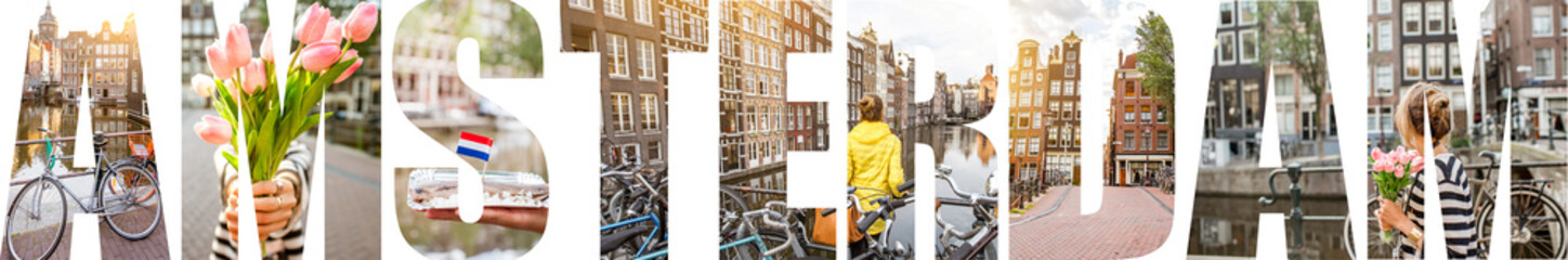 AMSTERDAM letters filled with pictures of famous places and cityscapes in Amsterdam city, Netherlands