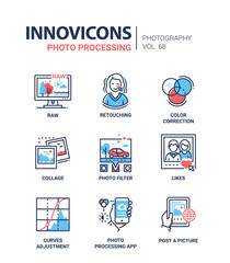 Photo processing - line design icons set