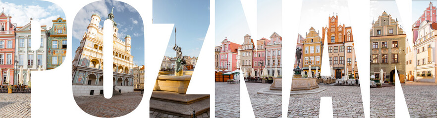 POZNAN letters filled with pictures of famous places and cityscapes in Poznan city, Poland