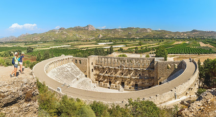 Ancient Roman amphitheater of Aspendos near Antalya. Travel in Turkey for historical and cultural destinations concept Wall mural