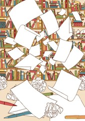 Illustration of a bunch of empty papers, flying through the air in front of an office bookshelf