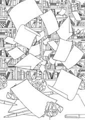 Illustration of empty papers, flying through the air in front of an office bookshelf and desk with crumpled paper. Black and white illustration suitable as colouring book page