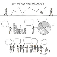 Hand drawn infographic elements with small business people, speech bubbles, and diagrams