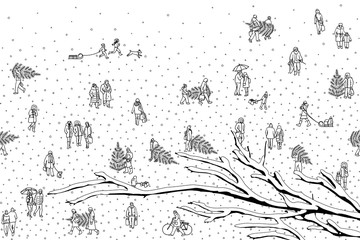 Hand drawn illustration of tiny pedestrians walking in winter through the city: small people wearing warm winter coats and carrying Christmas trees. With snow covered branch in the foreground