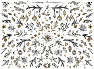 Hand sketched floral design elements for Christmas: pine tree branches, holly, mistletoe and other floral ornaments for text decoration, black ink with gold foil