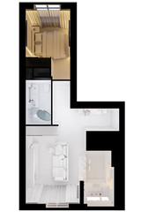 3d illustration of the interior design of an apartment in Scandinavian style. Top view interior render