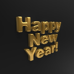 Gold Happy New Year Black Wall Background.