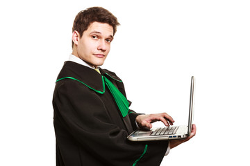 Young male lawyer hold laptop PC.