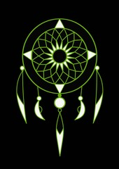 green and white dream catcher with feathers vector art on a black background