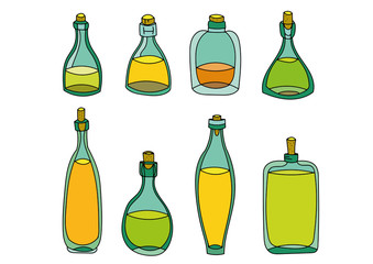 cartoon colored glass potions with juice set