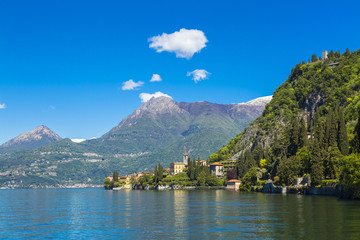 Beautiful summer view on Lake Como shore in Lombardy Region, Italy