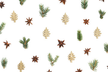 Christmas Pattern On White Background
