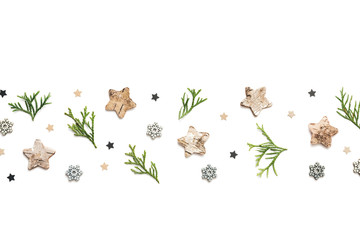 Christmas Background With Cypress Branches And Stars