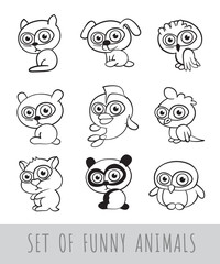 Set of funny contour cartoon animals on white background. Isolated black and white vector illustration.