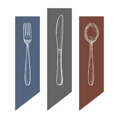 Cutlery vector vintage sketch. fork knife and spoon hand drawing isolated