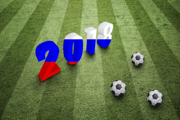 3d 2018 number painted with Russian flag on green soccer field with three football balls.