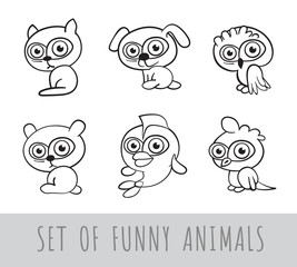 Set of six funny cartoon linear animals on white background. Vector illustration.