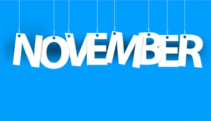 White word NOVEMBER - word hanging on the ropes on blue background. New year illustration. 3d illustration