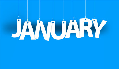 White word JANUARY - word hanging on the ropes on blue background. New year illustration. 3d illustration