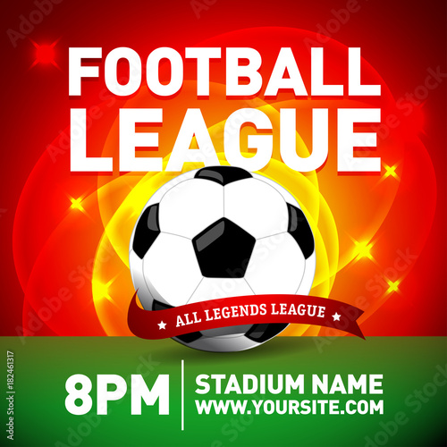 red soccer league flyer design template with football ball football