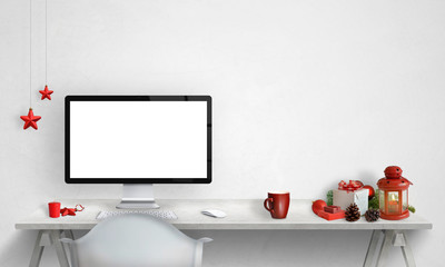 Computer display mockup with Christmas decorations beside. Free space for text on the wall.