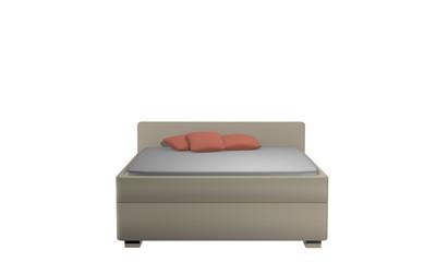 Schlichtes Doppelbett in beige mit Kissen. Aus Vorderansicht