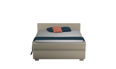 Schlichtes Doppelbett in beige mit Kissen und Decke. Aus Vorderansicht