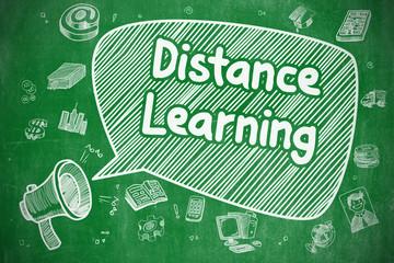 Distance Learning - Doodle Illustration. Green Chalkboard.