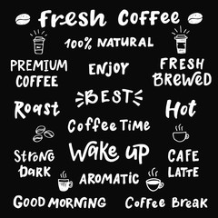 Set of words about coffee.