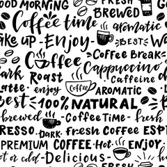 Seamless pattern of words about coffee.
