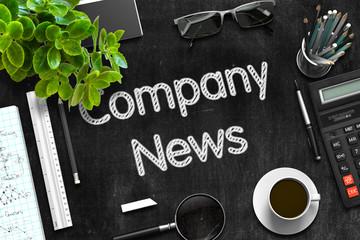 Company News - Text on Black Chalkboard. 3D Rendering.