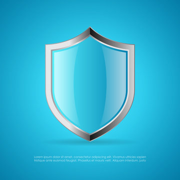 Blue glass protection vector shield
