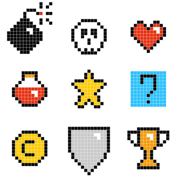 Flat simple illustration of set of minimalistic pixel art vector objects isolated on white background. Color icons in the 8 bit style. Colorful pixel graphic symbols group collection. Vector image.