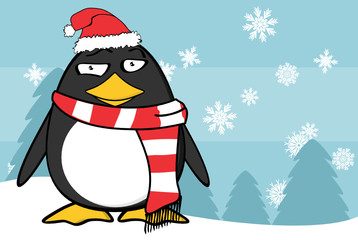 xmas funny penguin cartoon expression santa claus hat background in vector format