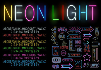 Colorful Neon Style Alphabet and Icon Set 2
