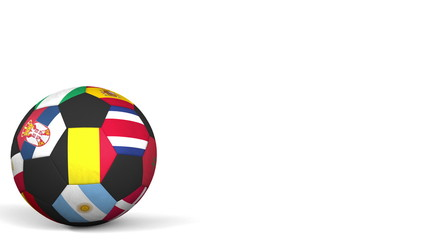 Football ball featuring different national teams accents flag of Belgium. 3D rendering