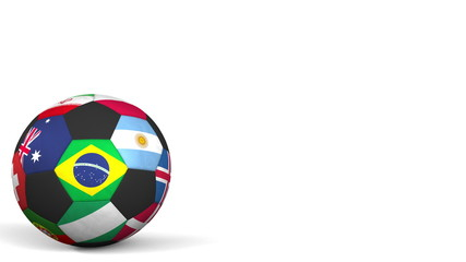 Football ball featuring different national teams accents flag of Brazil. 3D rendering