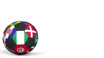 Football ball featuring different national teams accents flag of Nigeria. 3D rendering