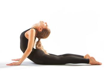 beautiful flexible woman doing yoga poses on white